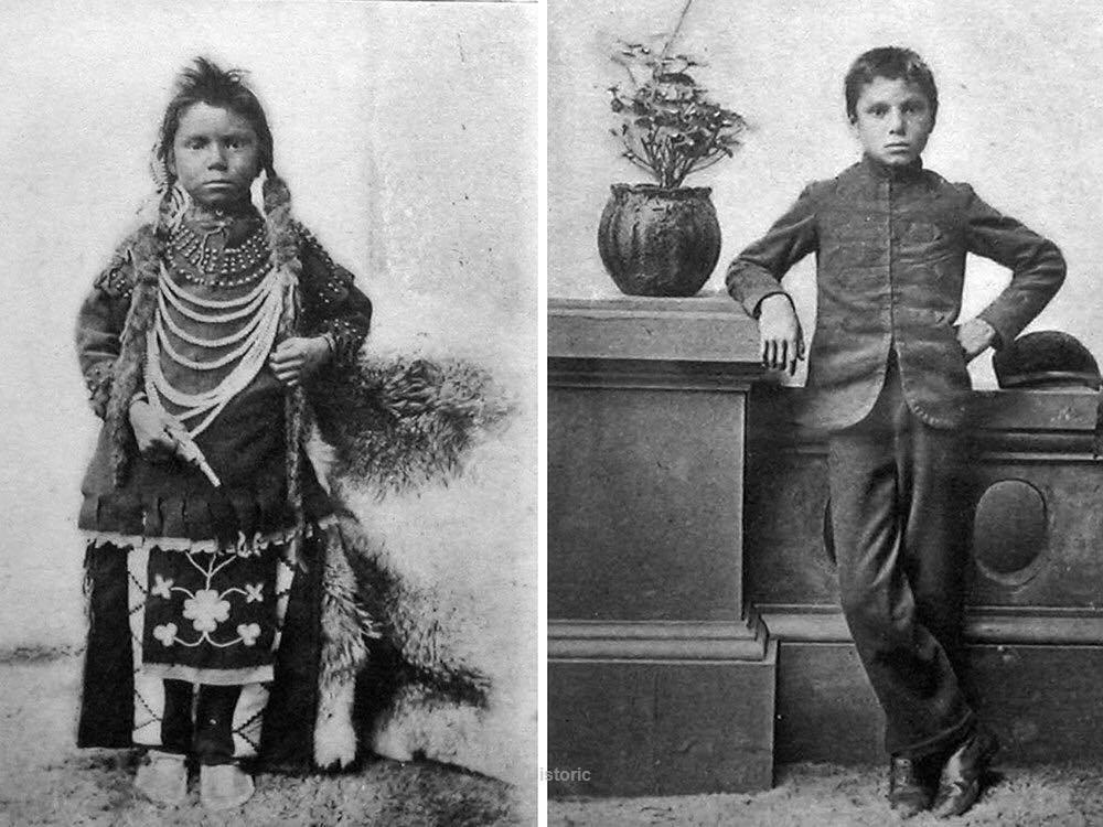 O jovem Thomas Moore antes e depois de ser matriculado na Escola Industrial Indígena, em Saskarchewan, 1890
