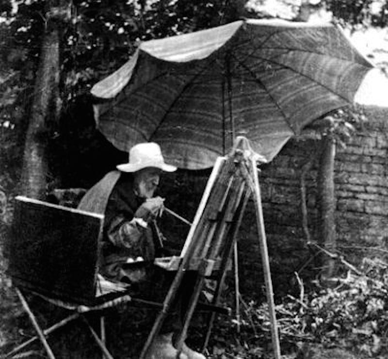 Renoir pintando em seu jardim, por volta de 1910