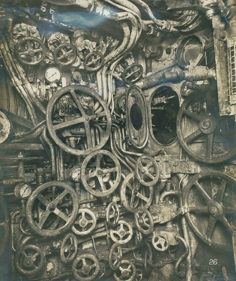 Sala de controle de submarinos alemãs em 1918