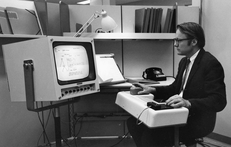 A primeira demonstração pública de um mouse de computador, em 1968
