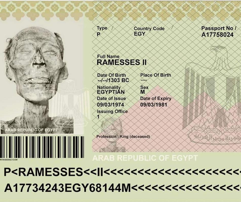 Em 1974, o lendário faraó Ramessés II recebeu um passaporte egípcio válido para que sua múmia de 3 mil anos pudesse ser levada a Paris para um reparo