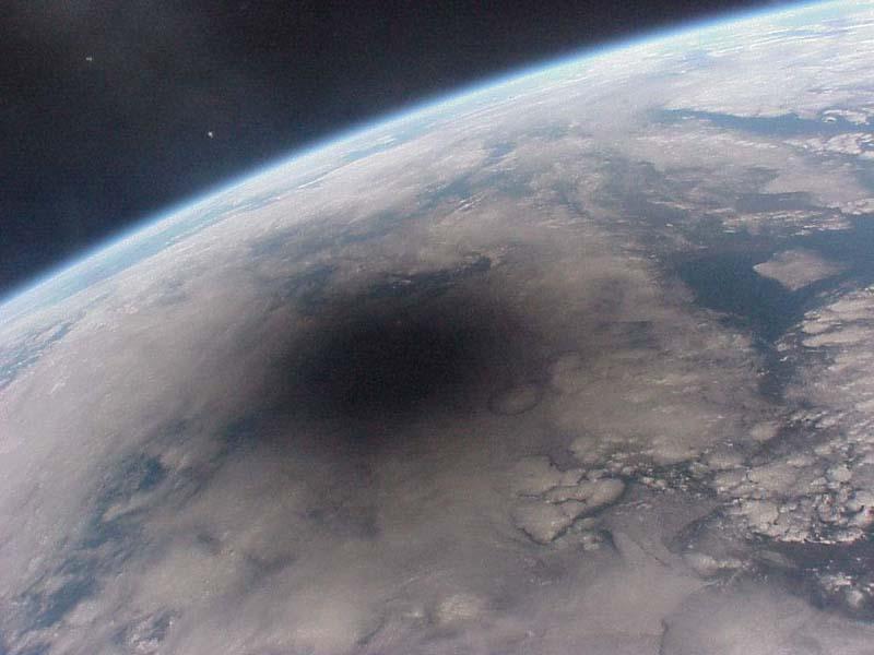 Um eclipse visto do espaço