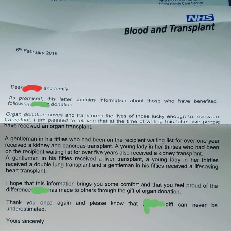 Se você morrer Reino Unido e tiver registro como doador de órgãos, a família recebe uma carta informando o destino dos seus órgãos