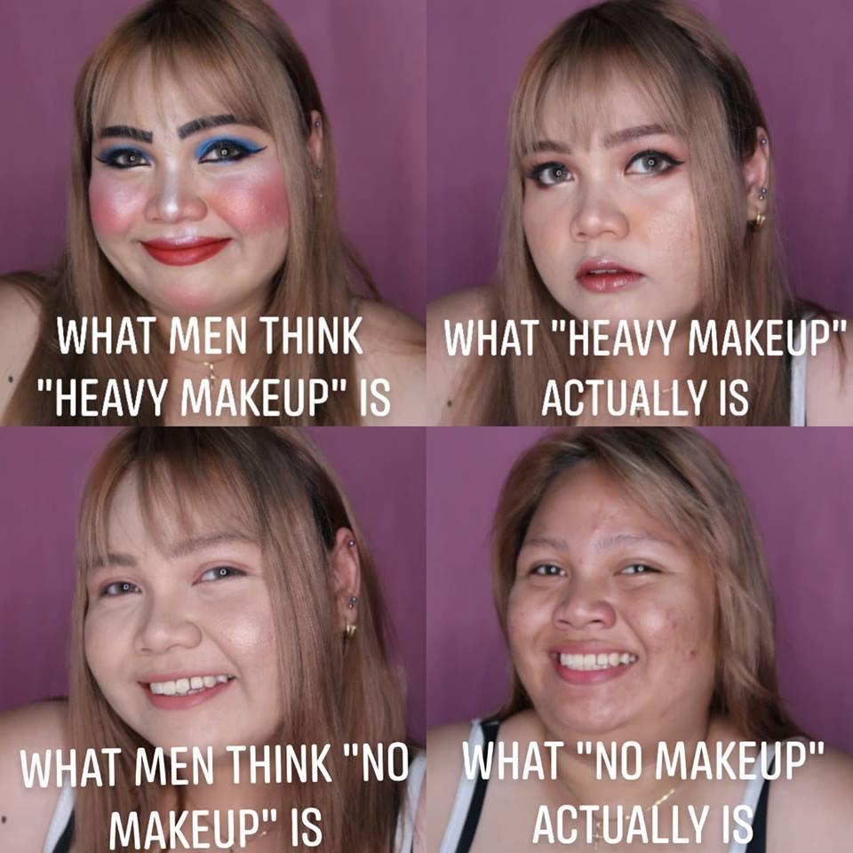 Vários graus de maquiagem numa mesma pessoa