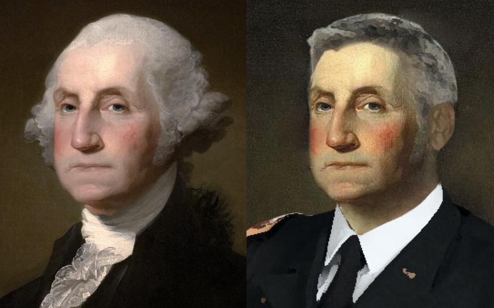 Retrato de George Washington com um estilo de cabelo moderno