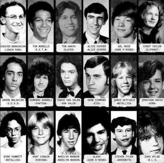 Alguns astros do Rock na época da escola