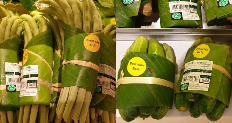 Supermercados na Ásia agora usam folhas de bananeira em vez de embalagens plásticas