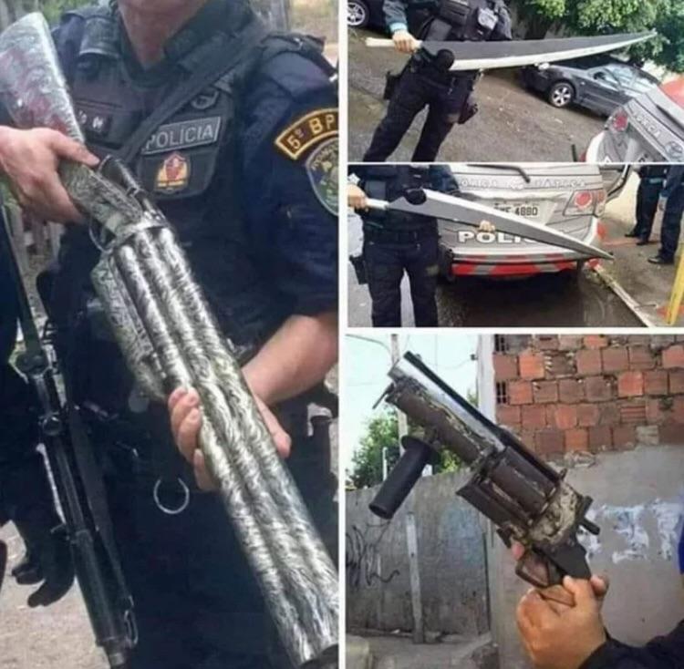 Armas de fabricação artesanal feitas por membros de gangues aqui do Brasil