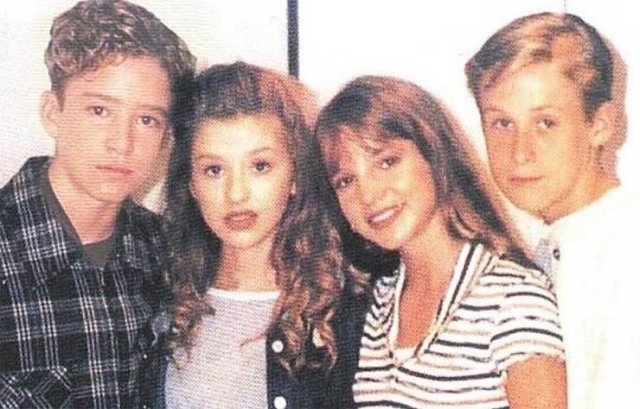 Justin Timberlake, Christina Aguilera, Britney Spears e Ryan Gosling, 1993