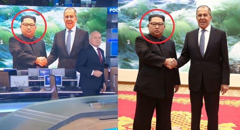 TV russa colocou um sorriso no rosto de Kim Jong Un ao encontrar-se com o ministro das relações exteriores da Rússia, Sergey Lavrov. Não se sabe ao certo o motivo, mas a montagem repercutiu