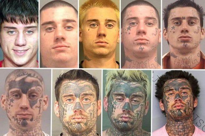 Mudanças de um cara preso ao longo de 9 anos
