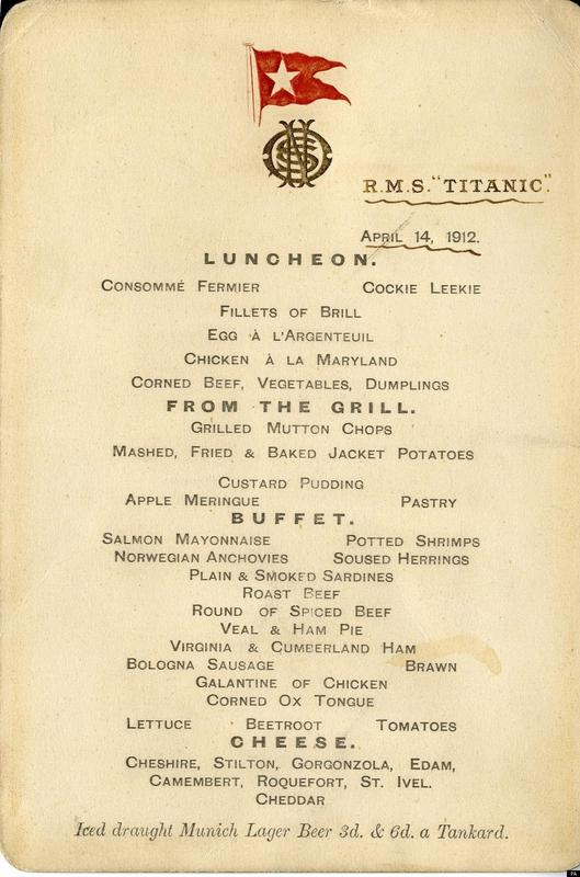 Menu da primeira classe do Titanic