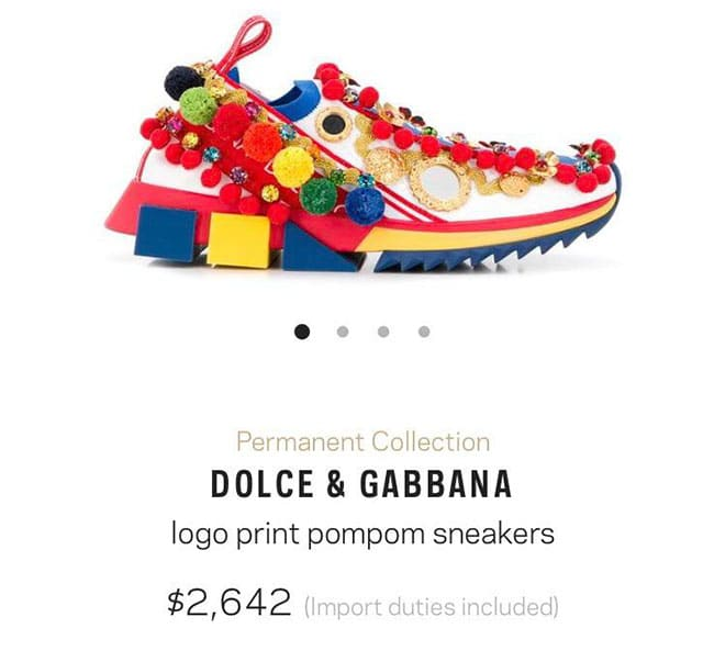Tênis Dolce & Gabbana: US$ 2,642