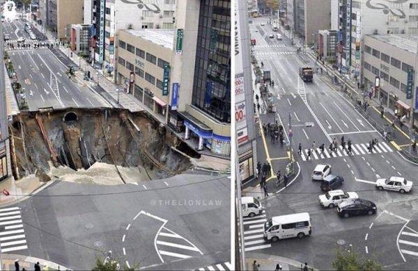 As autoridades japoneses consertaram essa pista em apenas dois dias
