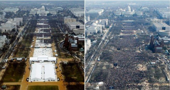 Uma comparação entre as multidões presentes nas cerimônias de tomada de posso de Donald Trump (20 de janeiro de 2017) e Barack Obama (20 de janeiro de 2009)