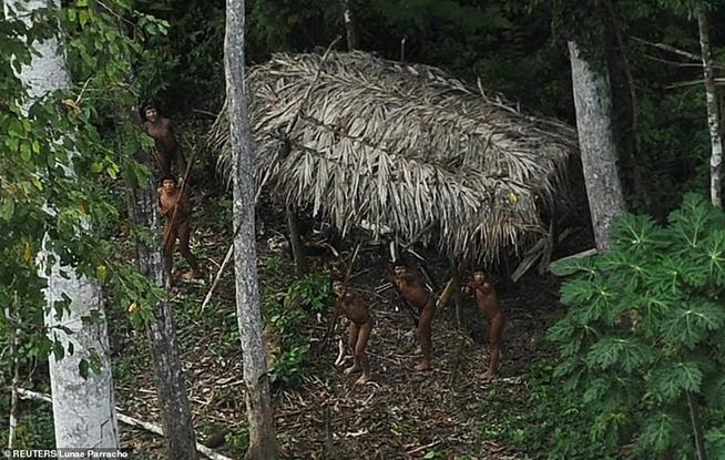 Índios reagem a um avião sobrevoando sua comunidade na bacia amazônica no estado do Acre, em 25 de março de 2014
