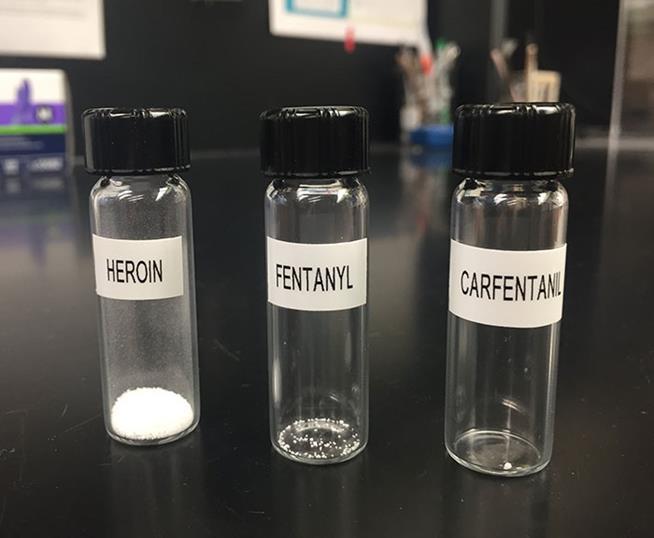 Frascos com heroína, fentanil e carfentanil. Cada um deles contém uma dose letal da droga