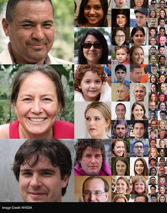 Todos os rostos criados pela neuro-rede da NVIDIA. Nenhum deles é real. Esses rostos são criados por uma rede generativa usando técnicas de aprendizado profundas para produzir retratos realistas a partir de um banco de dados de fotos existentes