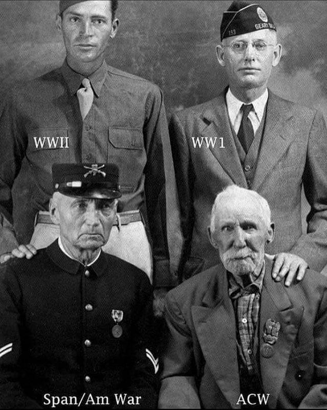 Quatro pessoas da mesma cidade que lutaram em guerras diferentes