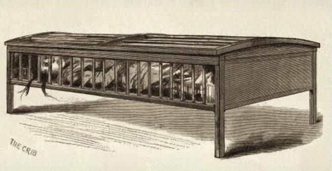 A Utica Crib, como mostra essa ilustração, era uma estrutura semelhante a um berço usada em asilos do século 19 e 20 e usada para impedir que os pacientes atacassem os funcionários e demais pacientes