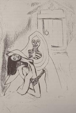 Desenho de Karen Greenlee. Após sua prisão, em 1979, ela, então com 23 anos, confessou ter feito sexo com cerca de 40 cadáveres do sexo masculino. Como a necrofilia não era ilegal no estado da Califórnia, Greenlee foi condenada apenas por dirigir ilegalmente
