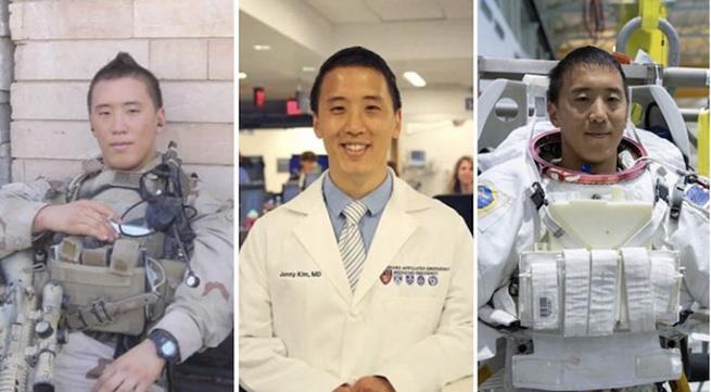Jonny Kim: ex-SEAL (médico de combate / atirador de elite / navegador), bacharel em matemática, médico (Harvard Medical School) e candidato a astronauta da NASA da turma de 2017