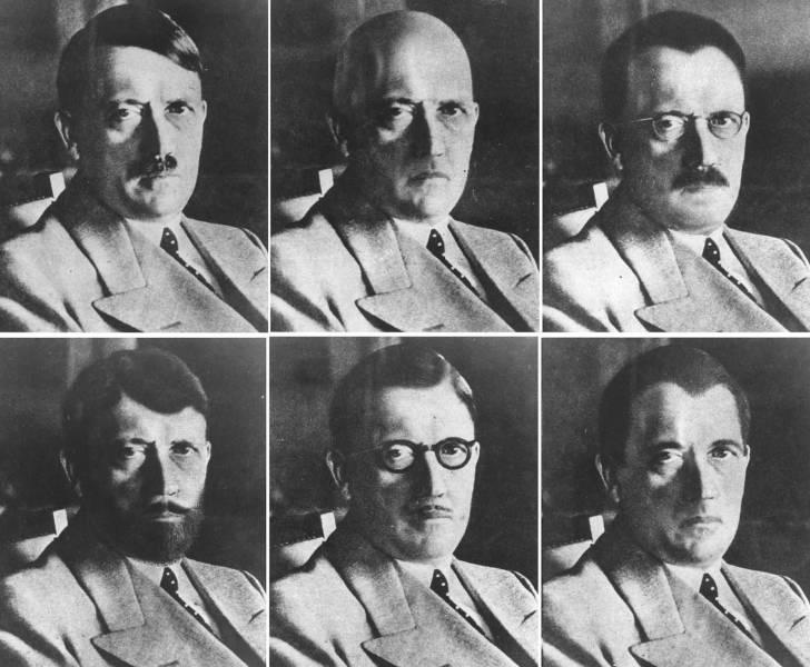Em 1944, o OSS (antecessor da CIA) produziu retratos diferentes para mostrar como Hitler poderia se disfarçar para fugir da Alemanha
