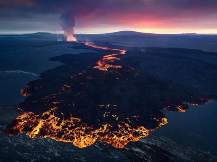Foto de Holuhraun, um grande campo de lava ao norte da Islândia