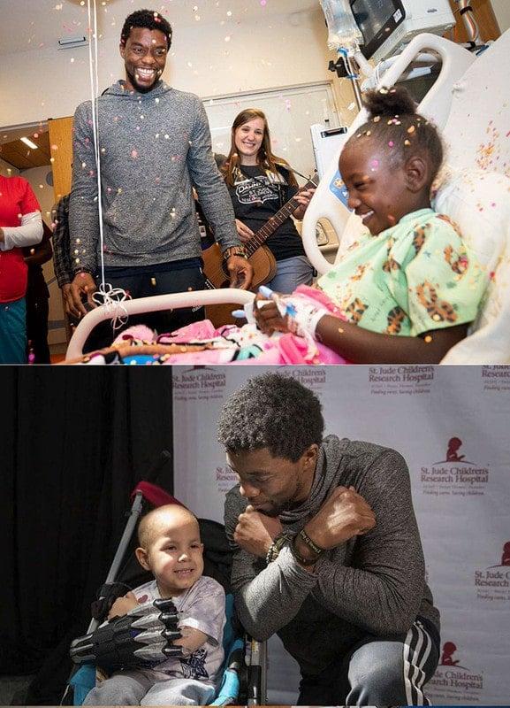 Chadwick Boseman visitou várias crianças que lutavam contra o câncer enquanto lutava pessoal e silenciosamente contra a doença