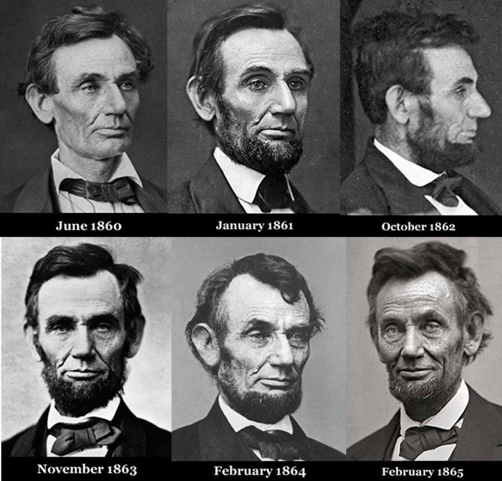 Esta série fotográfica de 1860-1865 mostra a rapidez com que Abraham Lincoln envelheceu no cargo de presidente dos EUA