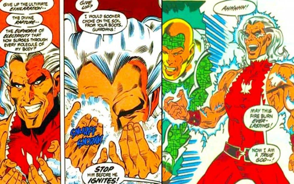 Existe um supervilão na DC chamado Snowflame, que ganha superpoderes cheirando cocaína