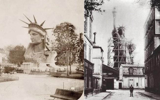 Estátua da Liberdade em processo de construção. Antes de ser totalmente concluída, partes dela foram construídas na França antes de serem enviadas para Nova Iorque