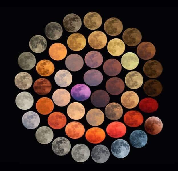 48 cores diferentes da lua, todas fotografadas em diferentes lugares da Itália, em um período de 10 anos