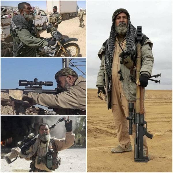 Este é Abu Tahsin al-Salhi, um veterano atirador iraquiano que matou mais de 384 membros do Estado Islâmico durante a Guerra Civil Iraquiana, recebendo o apelido de