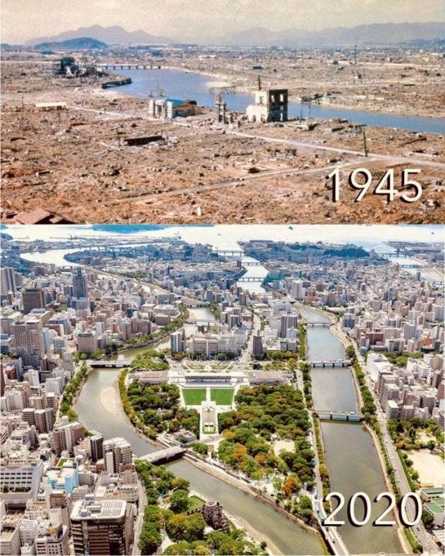 Hiroshima em 1945 e hoje