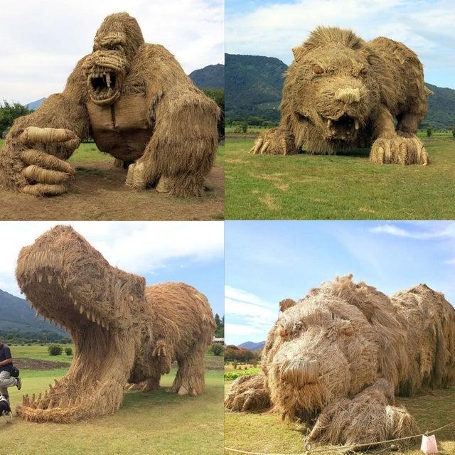 Para celebrar a colheita de arroz no norte do Japão, artistas locais criam esculturas gigantes de animais com as sobras da palha do arroz