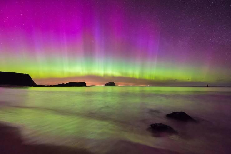 Aurora Boreal sobre Shetland, Reino Unido