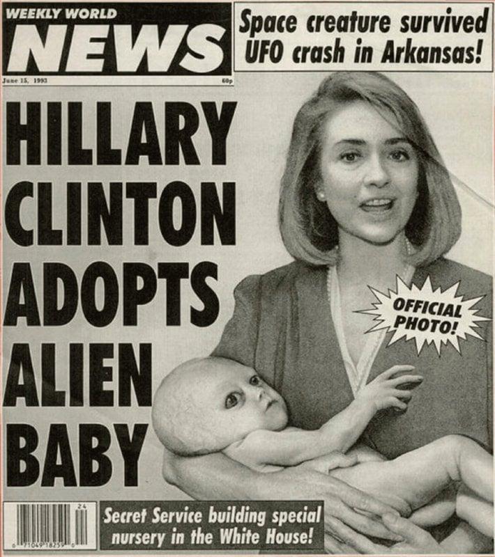 Fake news em 1990: Hillary Clinton adota bebê alienígena (foto oficial)