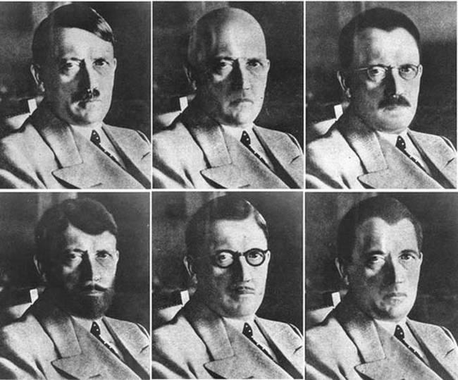 Mochups da inteligência dos EUA de como Hitler poderia parecer se conseguisse fugir
