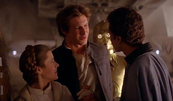 Carrie Fisher e Harrison Ford estavam bêbados na cena em que Leia e Solo chegam a Cloud City, em