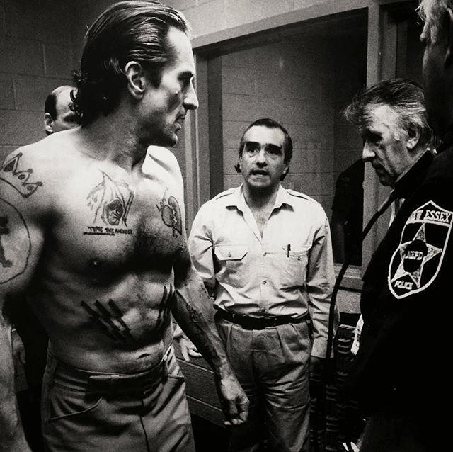 Robert De Niro, 48 anos, e Martin Scorsese no set de