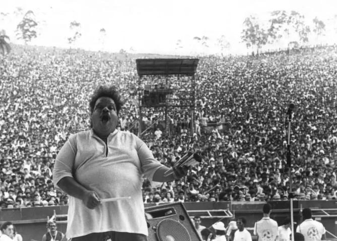 Tim Maia durante show no Parque do Carmo, em 1988