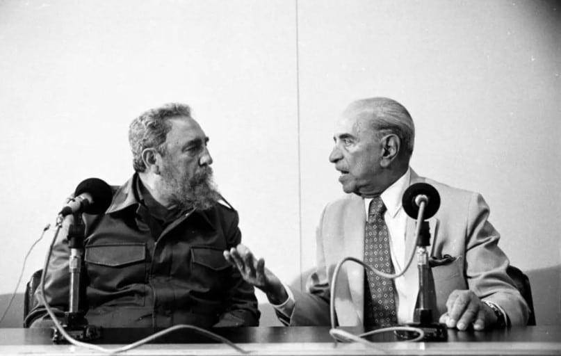 Líder cubano Fidel Castro em encontro com Roberto Marinho, março de 1990