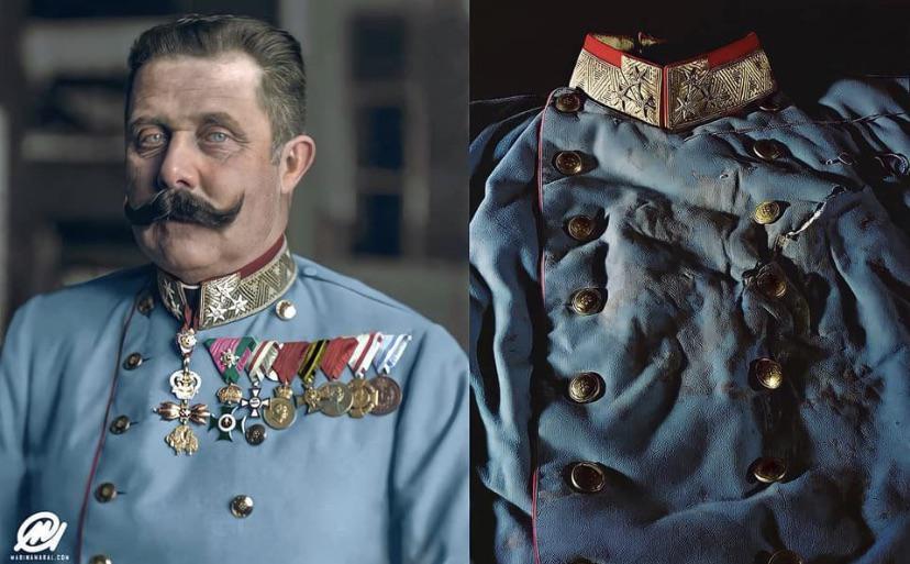 Esta é a jaqueta que o arquiduque Francisco Ferdinando usava quando foi assassinado, o que mais tarde resultou no início da Primeira Guerra Mundial.