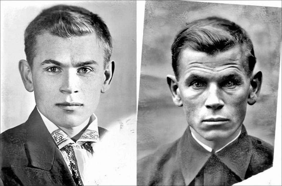 Em 1941, o soldado soviético Eugen Stepanovich Kobytev tirou a foto da esquerda dias antes de partir para a guerra. A foto à direita foi tirada em 1945, após o fim da guerra