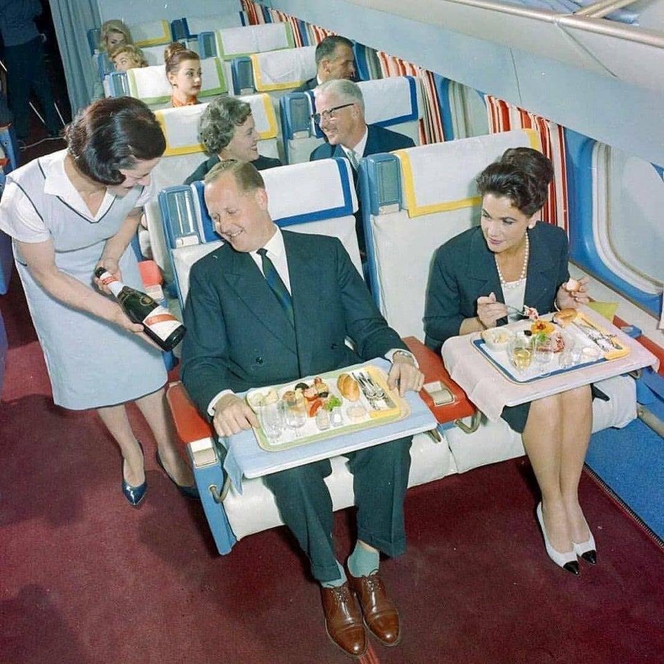Primeira classe da Swissair, por volta de 1960.