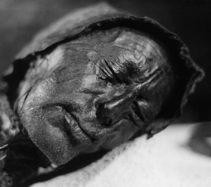 Cadáver naturalmente mumificado de um homem que viveu durante o século 4 aC. Ele foi encontrado em 1950, perfeitamente preservado na península de Jutlândia, na Dinamarca