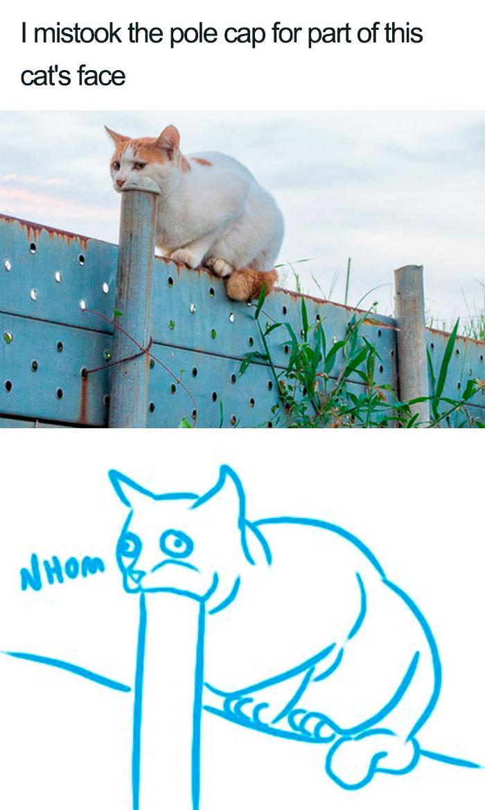 O gato só está atrás da barra de ferro. Apenas isso!