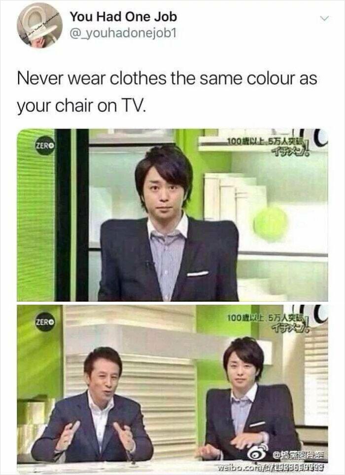 Na tv, é sempre bom evitar usar roupas da mesma cor que sua cadeira.