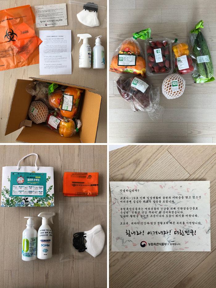 Este pacote foi enviado pelo governo sul-coreano para quem ficou em quarentena.